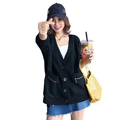 Vカーディガン レディース ニット セーター アウター 前開き 無地 ゆったり 柔らかい ファッション 上品 学生服 秋冬服 通勤通学