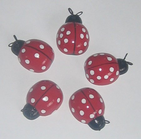 Wooden Red/ White Ladybug Wall Hangings - Set of 5