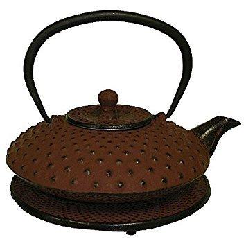 Reddish Orange Cast Iron Teapot with Trivet, 27 Oz Capacity by chefgadget