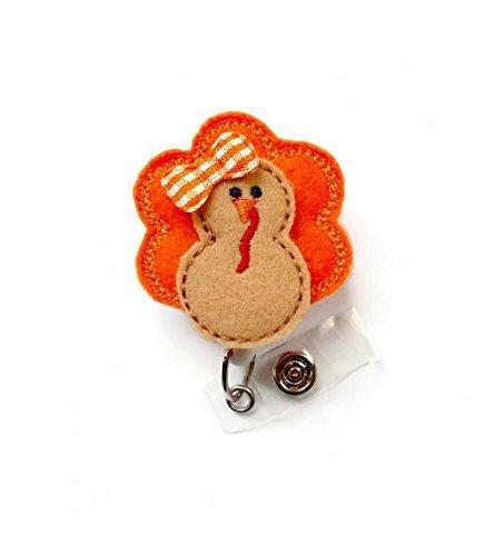 Trudy The Turkey - Retractable Id Badge Reel - Name Badge Holder - Unique Badge Reel - Nurse Badge Holder - Nursing Badge Clip - Felt Badge - Alligator Clip