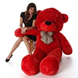 Toyhub Soft 3 Feet Teddy Bear With Neck Bow (91 Cm,Red)