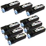 LD © Compatible Dell 1320/1320c Set of 9 High Yield Toner Cartridges 3 Black KU052,2 Cyan KU053, 2 Magenta KU055, and 2 Yellow KU054, Office Central