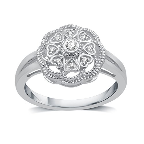 DeCarat Diamond Accent Sterling Silver Flower and Hearts Ring