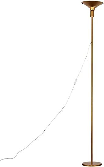 Modern Gold 24w Integrated Led Single Stem Uplighter Floor Lamp 2700k Warm White Energy Class A Amazon Co Uk Lighting