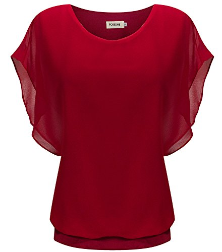 POSESHE Womens Casual Chiffon T Shirt