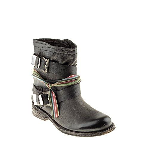 Felmini Zapatos Para Mujer - Enamorarse com Gredo B102 - Botas Cowboy & Biker - Cuero Genuino - Negro Negro