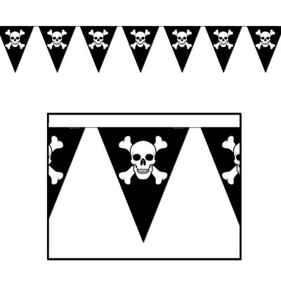 Beistle 50537 Jolly Roger Pennant Banner, 10-Inch by 12-Feet (Value 3-Pack) -