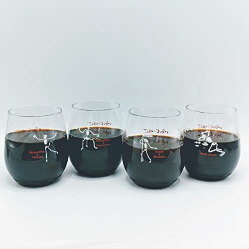 48 count TIPSY SKELETONS Assorted BPA Free Plastic 14 oz Shatterproof Wine Glasses CLOSEOUT -
