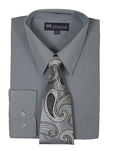 Milano Moda Men's Long Sleeve Dress Shirt with Matching Tie and Handkie SG21A-Charcoal-15-15 1/2-34-35 (Dress Combo Material)