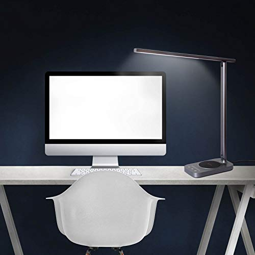 ROZKY Desk Lamp with Wireless Charging for iPhone/Samsung/LG etc,USB Charging Port LED Desk Lamp,Stepless Sliding Dimmable/Timer/Touch/Memory Function,Grey by rozky (Image #6)