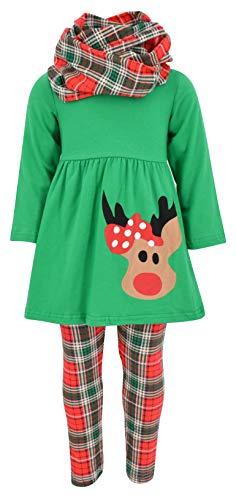 Unique Baby Girls 3 Piece Christmas Rudolph Legging Set (4T) Green ()