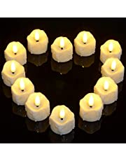 Battery Powered Candles with Timer, Ymenow Set of 12 LED Flameless Candles Realistic Electronic Tea Lights with Fake Candle Wax & Wicks for Home Room Party Festival Décor