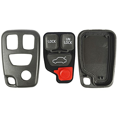 (QualityKeylessPlus Replacement Keyless Entry 4 Button Case and Pad for Volvo FCC ID HYQ1512J)