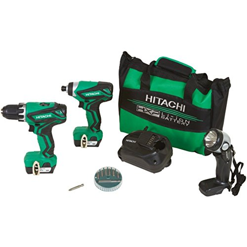 Hitachi KC10DFL2 12-Volt Peak Cordless Lithium Ion Driver Drill and Impact Driver Combo Kit (Lifetime Tool Warranty) (Hitachi 12 Volt Lithium Ion Battery Charger)