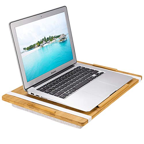 Gogloo Bamboo Lap Desk - Portable Laptop Desks, Natural Bamboo Platform with Removable Pillow Cushion. Perfect for Work on Bed & Sofa Couch - Fits Up to 15.6 Inch Laptops