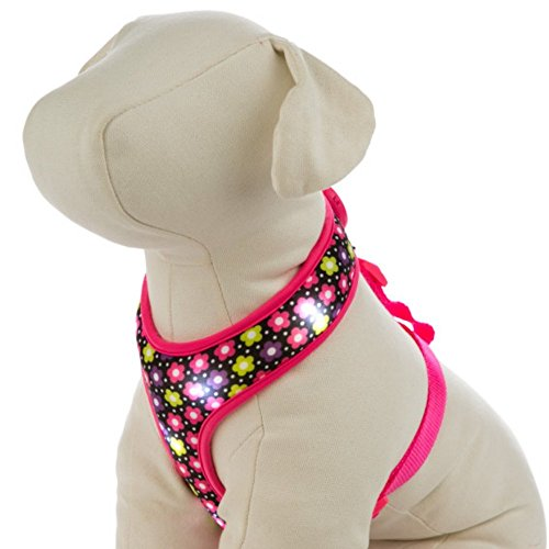 Hunde Harness Halsband LED Comfort Dog Colloar gepolstert mit Licht Pink Blumen Small