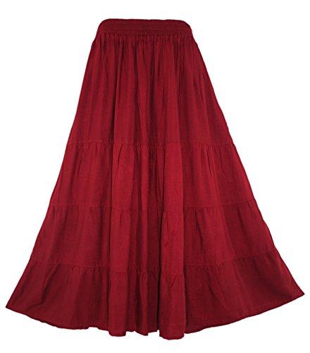 Velvet Tiered Skirt - Beautybatik Maroon Boho Gypsy Long Maxi Tiered Skirt 1X