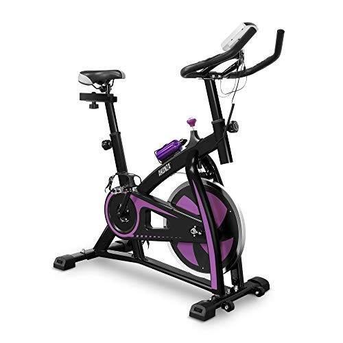 Akonza Fitness Cycling Bike with LCD Monitor& Heart Pulse Sensors, Adjustable Sport Trainer Stationary Bicycle, Purple