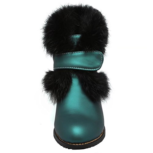 AIYOUMEI Damen Chunky Heel Stiefeletten mit Klettverschluss und 5cm Absatz Elegant Winter Kurzschaft Stiefel Grün