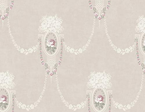 Cameo Lis Fleur De (Classic Cameo Wallpaper in Vintage Pink MM50701 by Wallquest)
