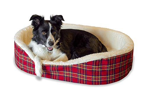 - Dog Bed King USA Cuddler Pet Bed. X Large Jumbo 40 x 28 x 7 Inches. Red Plaid with Imitation Lambswool. Removable Machine Washable Cover. Made in USA. 1