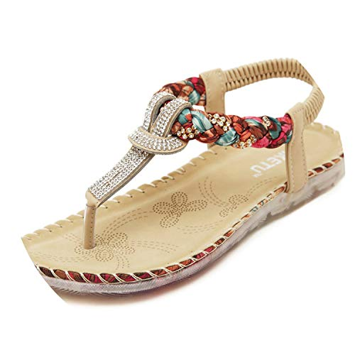 Independent21 Summer Sandals Women T Strap Flip Flops Thong Sandals Designer Elastic Band Ladies Gladiator Sandal Shoes Zapatos Mujer,E7 Gold Patent,12
