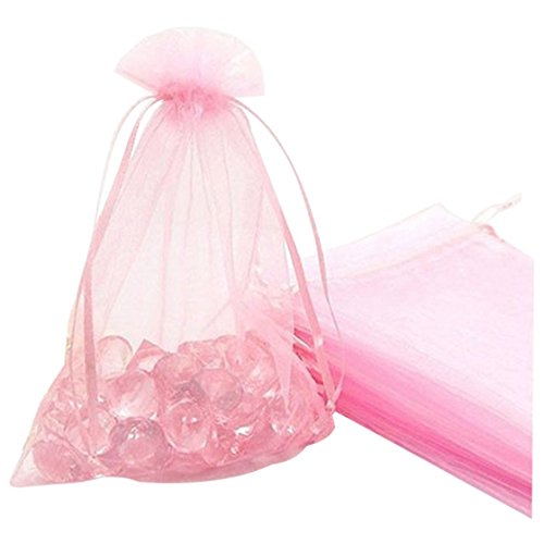 SODIAL(R) Premium Organza Gift Bags Jewellery Pouches XMAS Wedding Party Candy Bags Colour:Pink Size:15CM x 20CM 25pcs