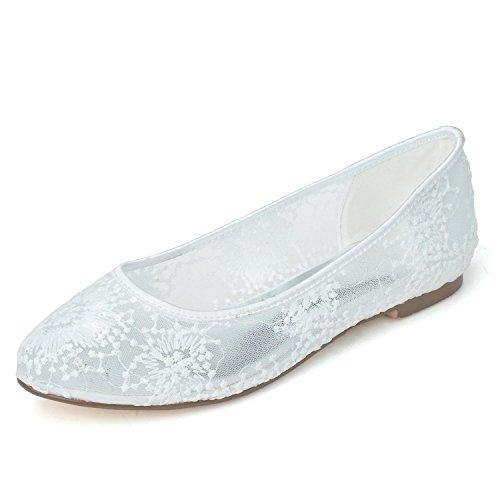 L De Confort En Boda Zapatos Mujer yc Plata 1 Dorada Y 9872 Para Noche Encaje Plano White 20 prxqpfw8