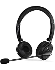 Bluetooth Headsets with Mic, Noise Cancelling Wireless Bluetooth Headphones Hands Free On Ear Phone Headset with Boom Microphone for iPhone,Office Phone Call Center Customer Service PC PS4 TV Trucker
