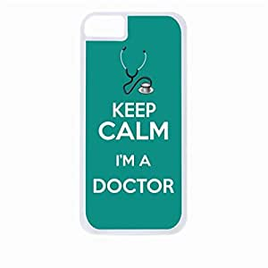 Keep Calm I'm A Doctor-Teal- Hard White Plastic Snap - On Case with Soft Black Lining-Apple Iphone 4 - 4s - Great Quality!