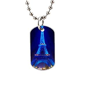 Blue Eiffel Tower Custom image Oval Dog Tag Pet Tags Handmade Tags Cute Gift Ideal