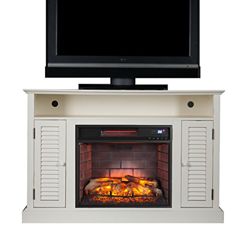 "Southern Enterprises Antebellum Media Console Infrared Electric Fireplace 48"" Wide, Antique White Finish"