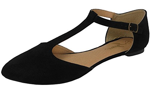 ne T-Strap Pointed Toe Ballet Flat (9 B(M) US, Black) ()