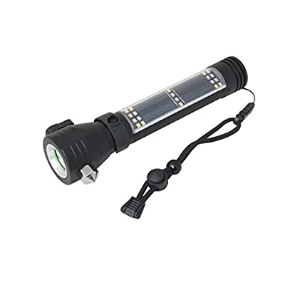 uxcell® Solar Tactical Flashlight Handheld Solar Powered LED Flash Lamp Rechargeable Lithium Battery w USB Battery Charger Solar Power Bank for Phone / Tablet
