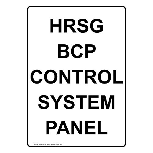 ComplianceSigns Vertical Vinyl HRSG BCP Control System Panel Labels, 5 x 3.50 in. with English Text, White, pack of 4 Bcp Panel