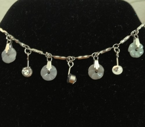 Silver Plated Braclett with Jade Colored Flowers and Crystal Jems