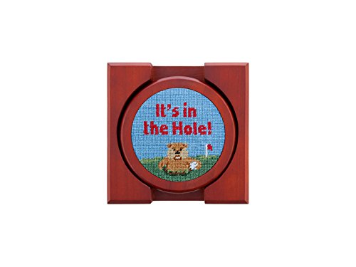 Gopher Golf Needlepoint Coaster Set