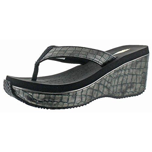 Volatile Women's Jojo Wedge Sandal, Pewter, 8 B US Embossed Leather Wedge Sandal