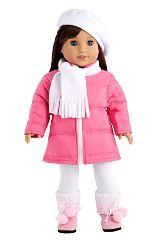 DreamWorld Collections - Parisian Adventure - 5 Piece Outfit - Pink Coat, White Beret, Scarf, Leggings and Pink Boots - Clothes Fits 18 Inch American Girl Doll (Doll Not Included)