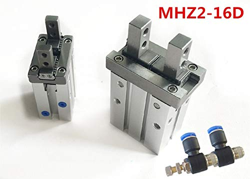 Ochoos SMC Type MHZ2-16D Parallel Style Air Gripper Cylinder Double Acting 16MM Bore Pneumatic Mini Cylinder+ 6mm Tube Elbow