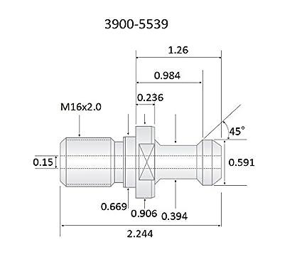 HHIP 3900-5539 .59 X 2.24 45 Degree CAT40 M16 X 2.0 COOLANT Thru Retention KNOB