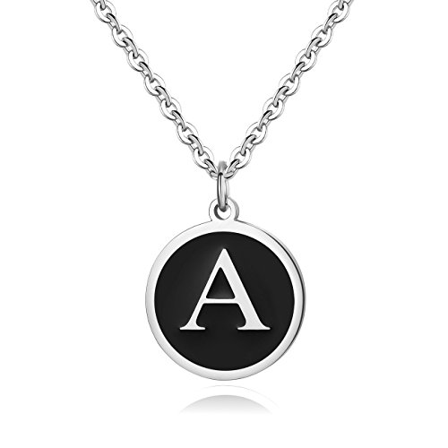 REVEMCN Stainless Steel Alphabet and Bible Verse Proverbs 4:23 Pendant Necklace for Men Women with Keyring and 22'' Chain (Silver-Tone: A)