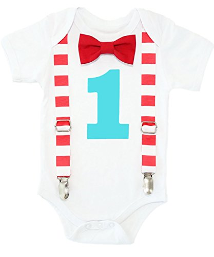 Noah's Boytique Circus First Birthday Outfit Carnival Theme Red Aqua Stripes Clothes Cake Smash 18-24 Months