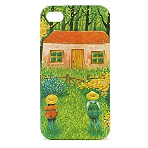 Hut Pattern Protective Case for iPhone 4 and 4S (Green)