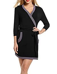 HOTOUCH Womens Bathrobe Soft Kimono Cotton Knit Robe Black XL