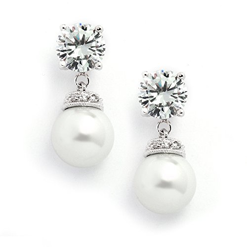 Mariell Light Cream Pearl Drop Wedding Bridal Earrings with Round-Cut CZ - Rich Platinum Plated