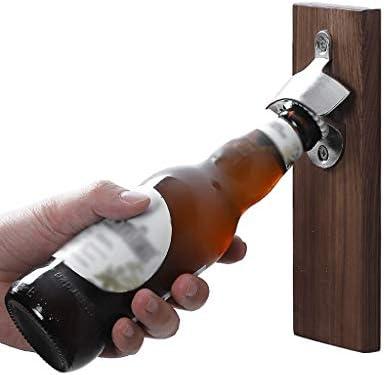 Sacacorchos de vino de alta gama El abridor de madera montado en la pared de la vendimia con Cap Catcher es el regalo ideal for los amantes de la cerveza Sacacorchos manual premium para todos los vino