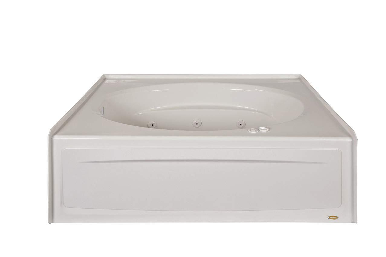Jacuzzi J4S6042WLR1XXW White 60 x 42 Signature Three Wall Alcove Whirlpool Bathtub with 6 Jets, Air Controls, Tiling Flange, Skirt, Left Drain, and Right Pump