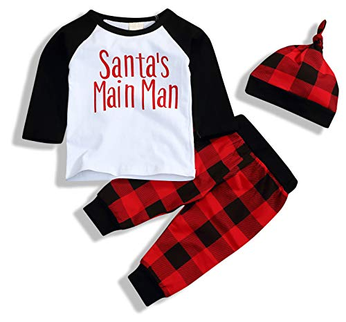 Christmas Babys 1st Birthday Outfits T-Shirt with Red Plaid Pant and Hat (White Santa, 0-6 Months) ()