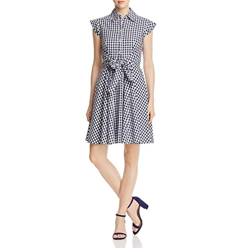 Cupio Womens Gingham Tie Wrap Shirtdress Navy L (Gingham Navy Dress)